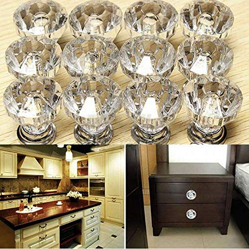 Kitchen Handles Top Quality 25mm Door Knobs Crystal Diamond Glass Silver Drawer