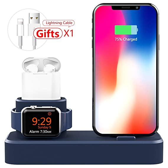 2ec59f58e007 AODUKE 3 in 1 Silicone Charging Stand for Apple Watch iPhone and  AirPods