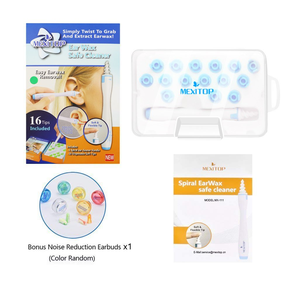 Ear Wax Removal, MEXITOP Professional Ear Cleaner System with 16 pcs soft Spiral Washable Replacement Tips Improve the Effect of Ear Wax Removal Drop + Bonus Noise Canceling Ear Plugs, Blue(Upgraded Version)