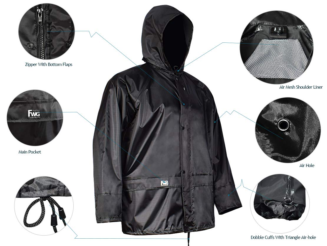 Rain Jacket with Pants for Men Women Waterproof Rain Coat 3-Pieces Ultra-Lite Suits (Large, Black) by FWG (Image #4)