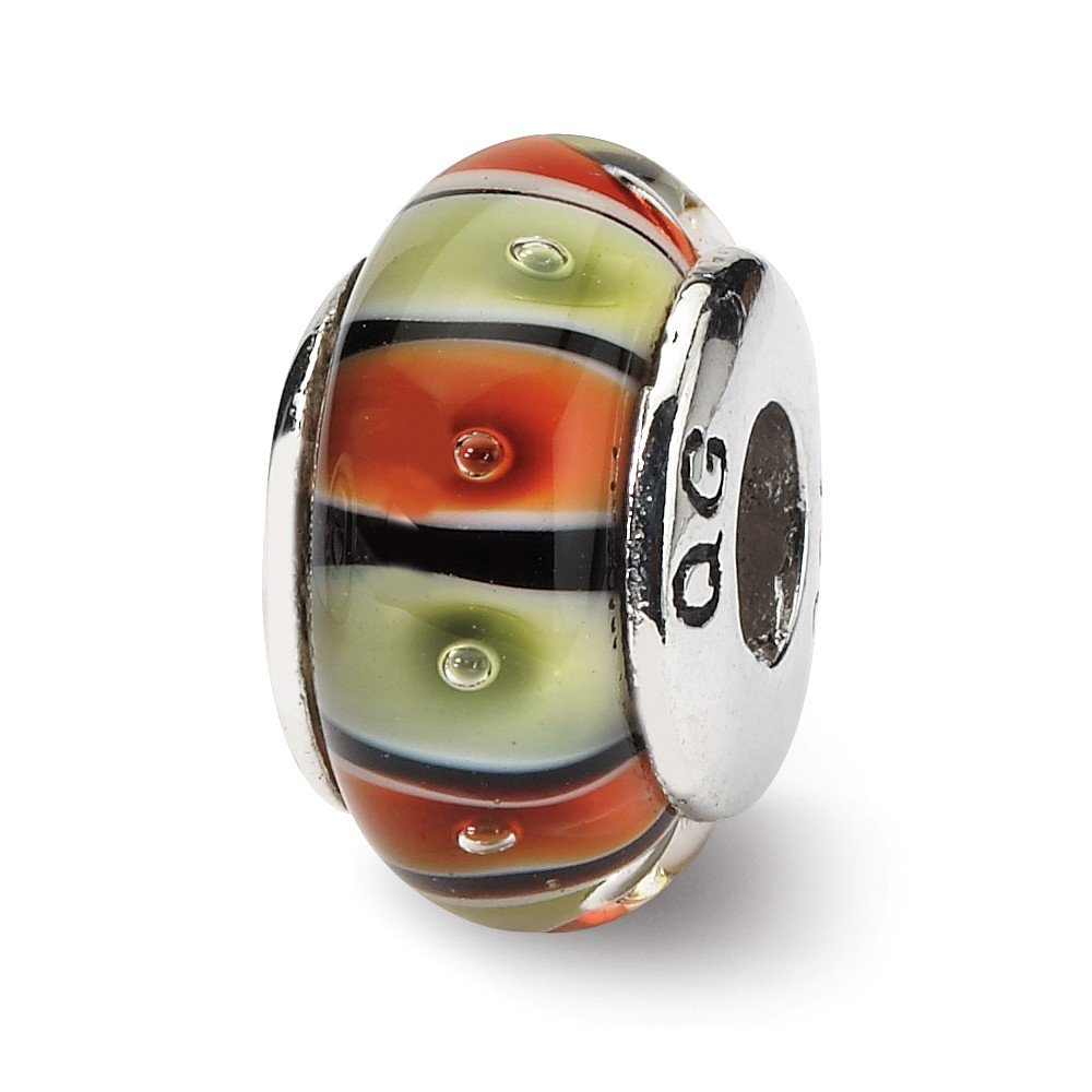 7.3mm x 13.6mm Solid 925 Sterling Silver Reflections Orange,Red//Lt Green Glass Bead