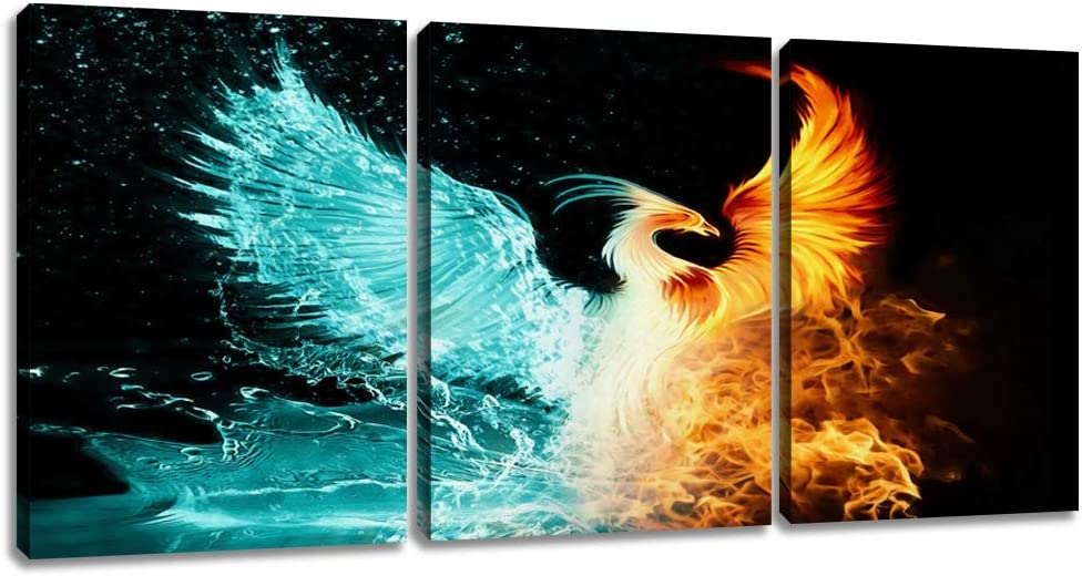 """EAVUTY Modern Phoenix Wall Art Canvas Posters Print Abstract Canvas Print Fantasy Animals Paintings Framed Picture Artwork for Living Room Bedroom Office Wall Decor Home Decorations(36""""Wx16""""H)"""