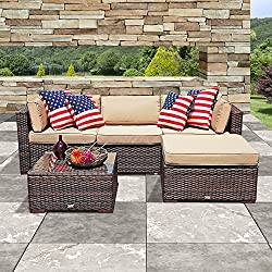 PATIOROMA Outdoor Furniture Sectional Sofa Set (5-Piece Set) All-Weather Brown PE Wicker with Beige Seat Cushions &Glass Coffee Table| Patio, Backyard, Pool| Steel Frame