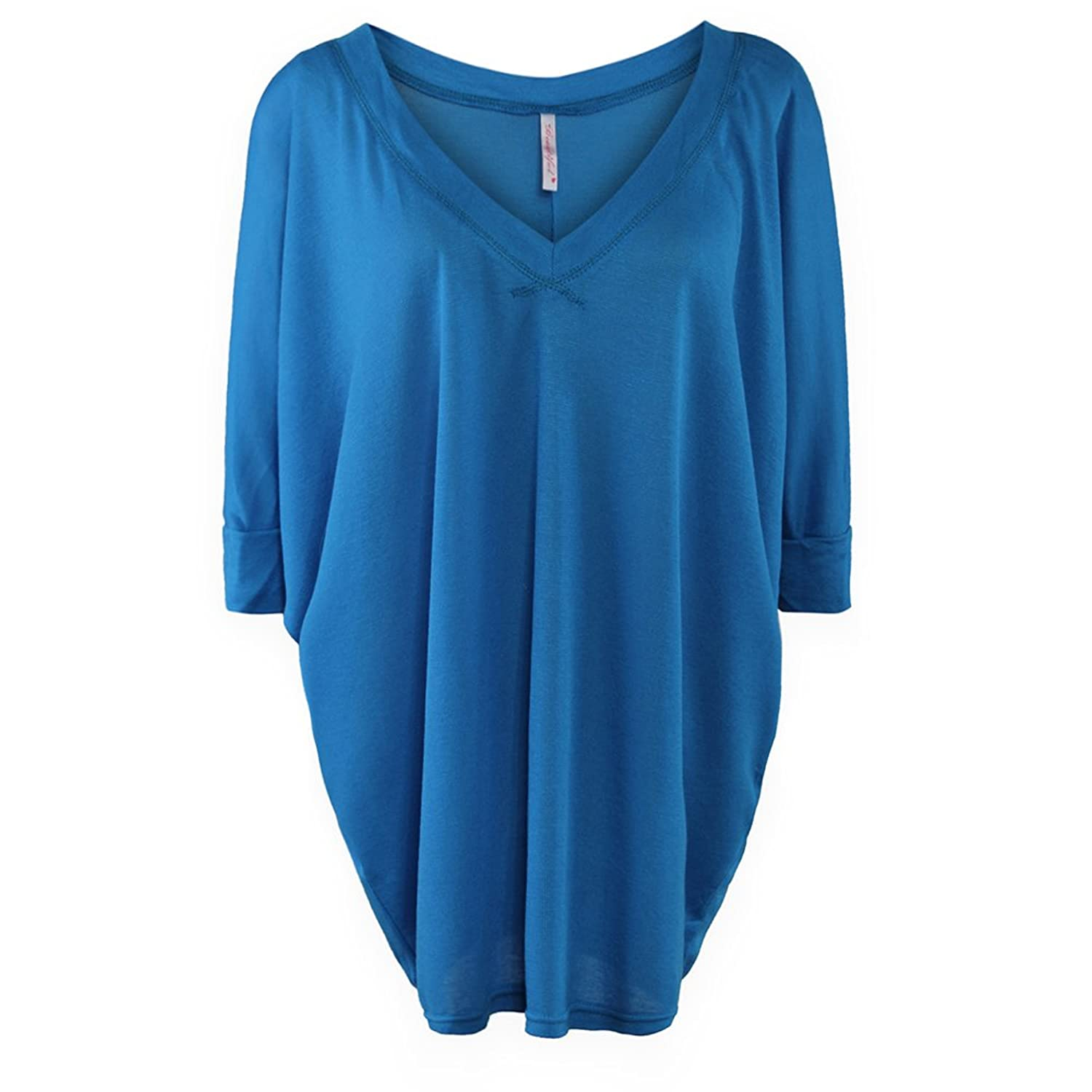 Gamiss Women's V Neck Bat-wing Sleeve Plus Size Solid Color Casual Loose Dress