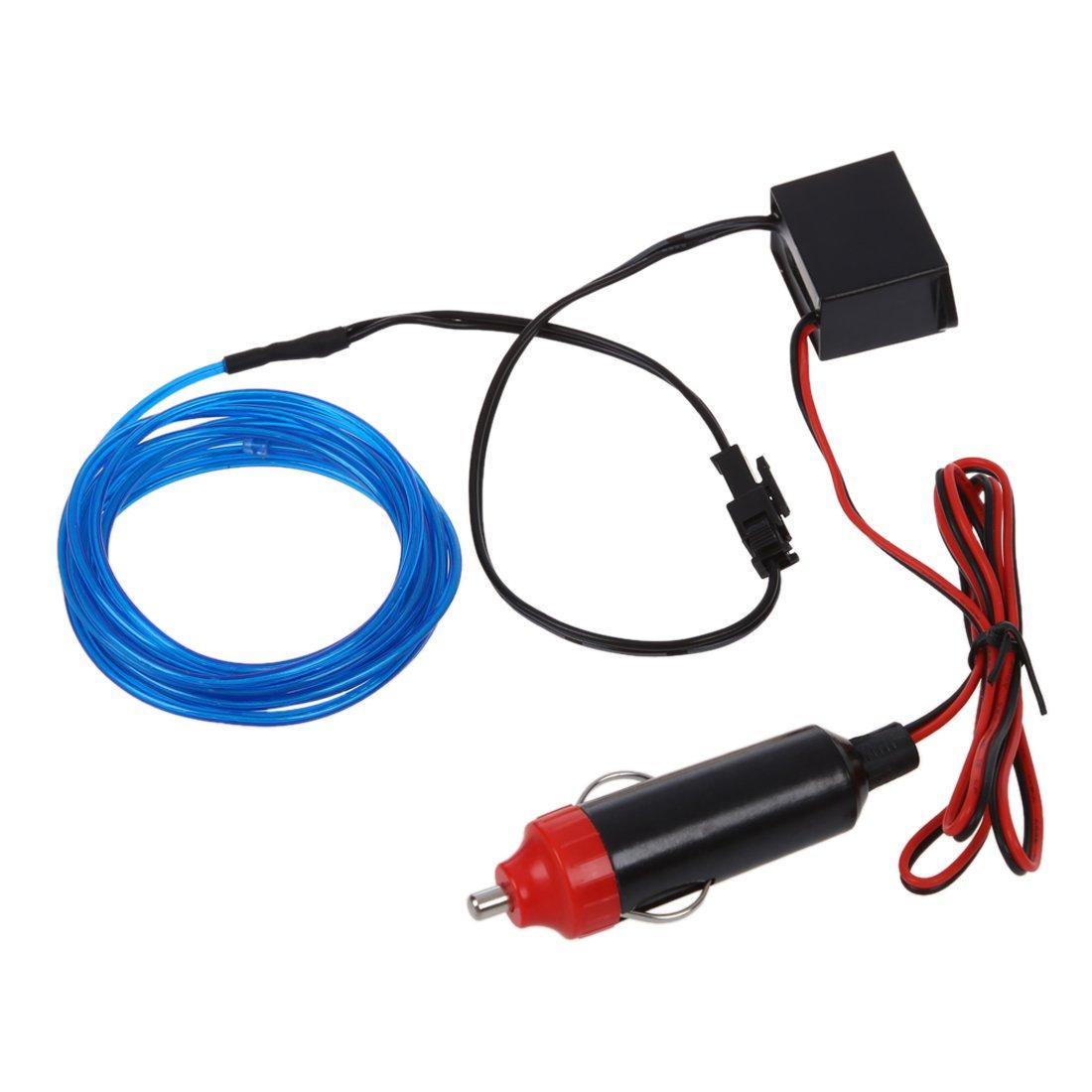 TOOGOO(R) 2M Flexible EL Wire Neon LED Car Light Party Rope Tube + 12V Inverter - Blue SHOMAGT30346