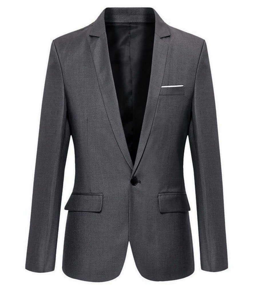 Mens Slim Fit Casual One Button Blazer Jacket (M, 302Grey)