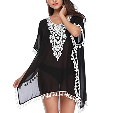 74815b40af82f PAMI Women's Stylish Chiffon Tassel Beachwear Bikini Swimsuit Cover up  (Black Small)