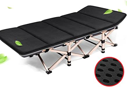 Loungers Folding Bed Single Bed Folding Bed Camping Bed Adult Bed Napping Recliner Office Simple (Color : Black, Size : 190 * 67 * 36 cm)