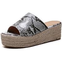 Womens Platform Sandals Espadrille Wedge Ankle Strap Open Toe Sandals Summer Casual Peep Toe Straw Slides Sandals