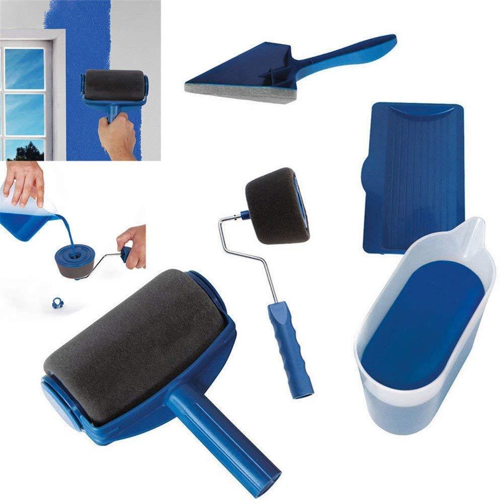 Vaughenda Paint Roller Brush Kits,5 Pcs DIY Roller Paint Brush Handle Tool Flocked Edger Wall Printing for Home Office