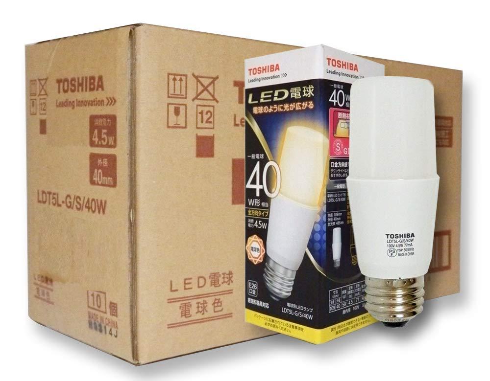 東芝 LED電球 T形 40W形相当 電球色 口金E26 断熱材施工器具対応 全方向タイプ [10個セット] LDT5L-G/S/40W-10SET B079MB1KN2