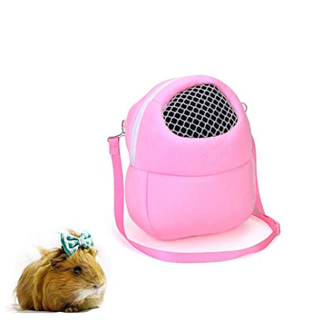 Hyihe Pequeñas bolsas de transporte de animales para mascotas, bolsa de viaje portátil transpirable, bolsa de mano para hámster/erizo/conejo/azúcar ...