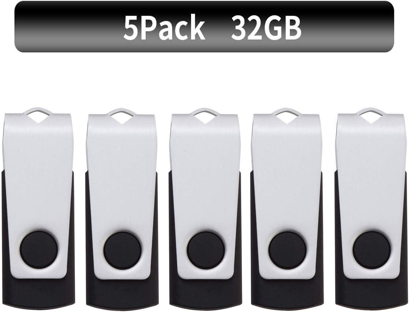 TPSON Memoria USB 32GB Pack de 5 USB Flash Drive 2.0 Pendrive 32GB Memoria Flash USB Stick (32GB, Negro)