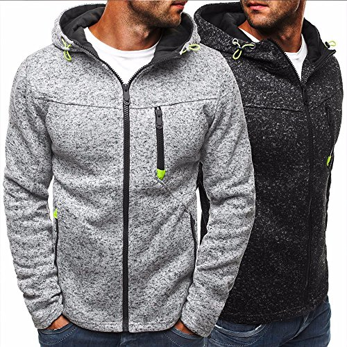Men's Autumn Lightweight Fleece Zip Up Hoodies Coat Sweatshirts Jacket With Pocket