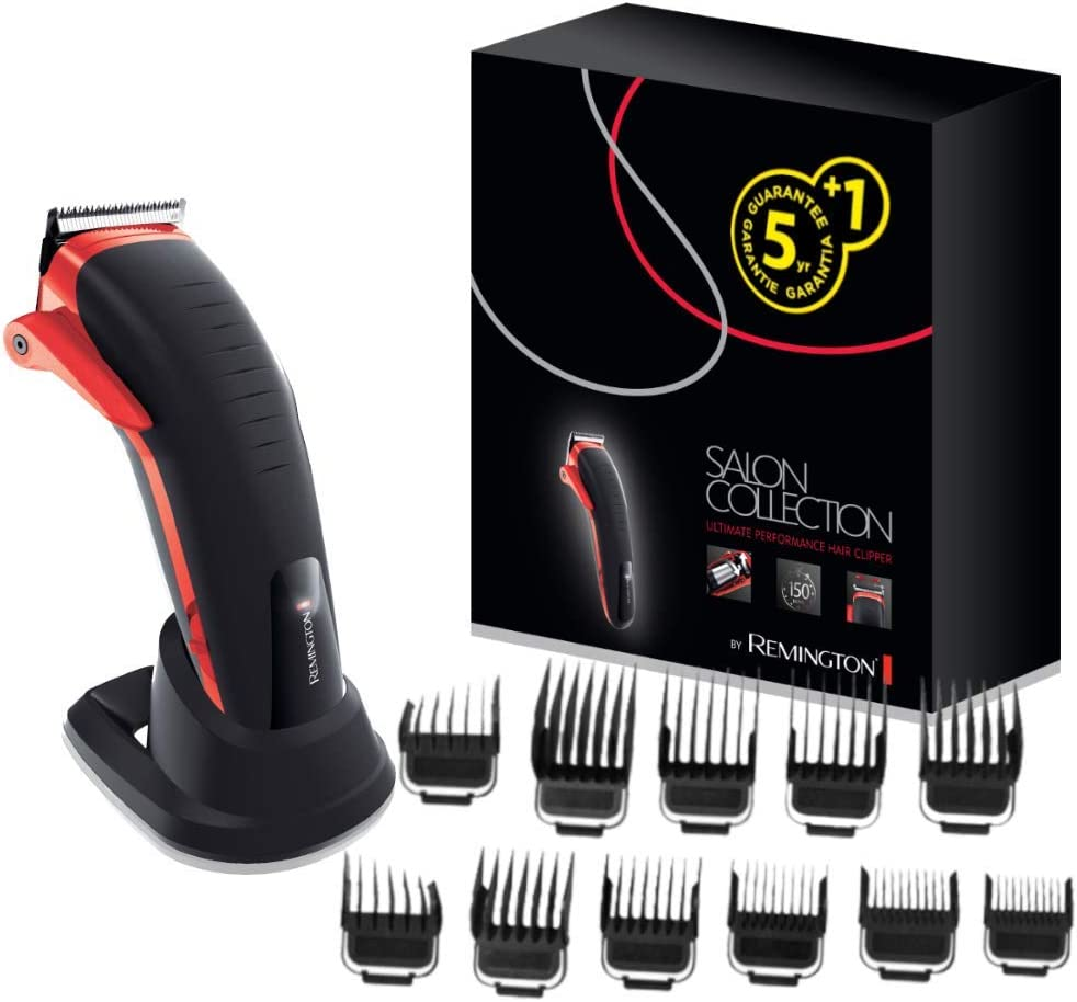 Remington Salon Collection HC9700 - Máquina de Cortar Pelo Profesional, Cuchillas Acero Inox, Lavable, Litio, Negro y Rojo