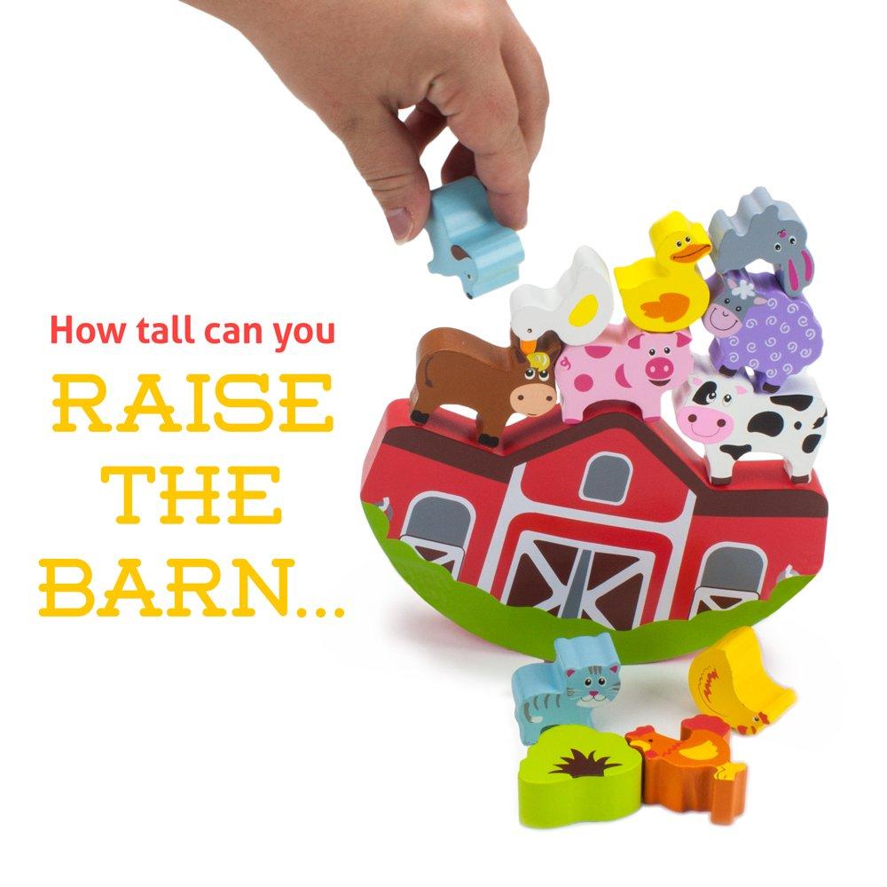 by Imagination Generation Wooden Wonders Balancing Block Barnyard Playset 13 pieces