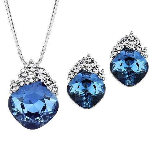 Neoglory Jewellery Schmuckset Halskette Ohrringe Silber mit original Swarovski® Elements Kristall mit Strass glänzend blau