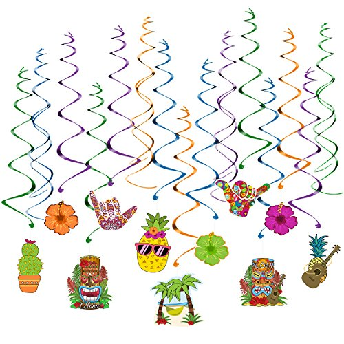 Unomor Luau Party Supplies, Hawaiian Party Decorations Tropical Favor Aloha Flowers Hanging Swirls for Summer Beach Party - 30 Pack]()