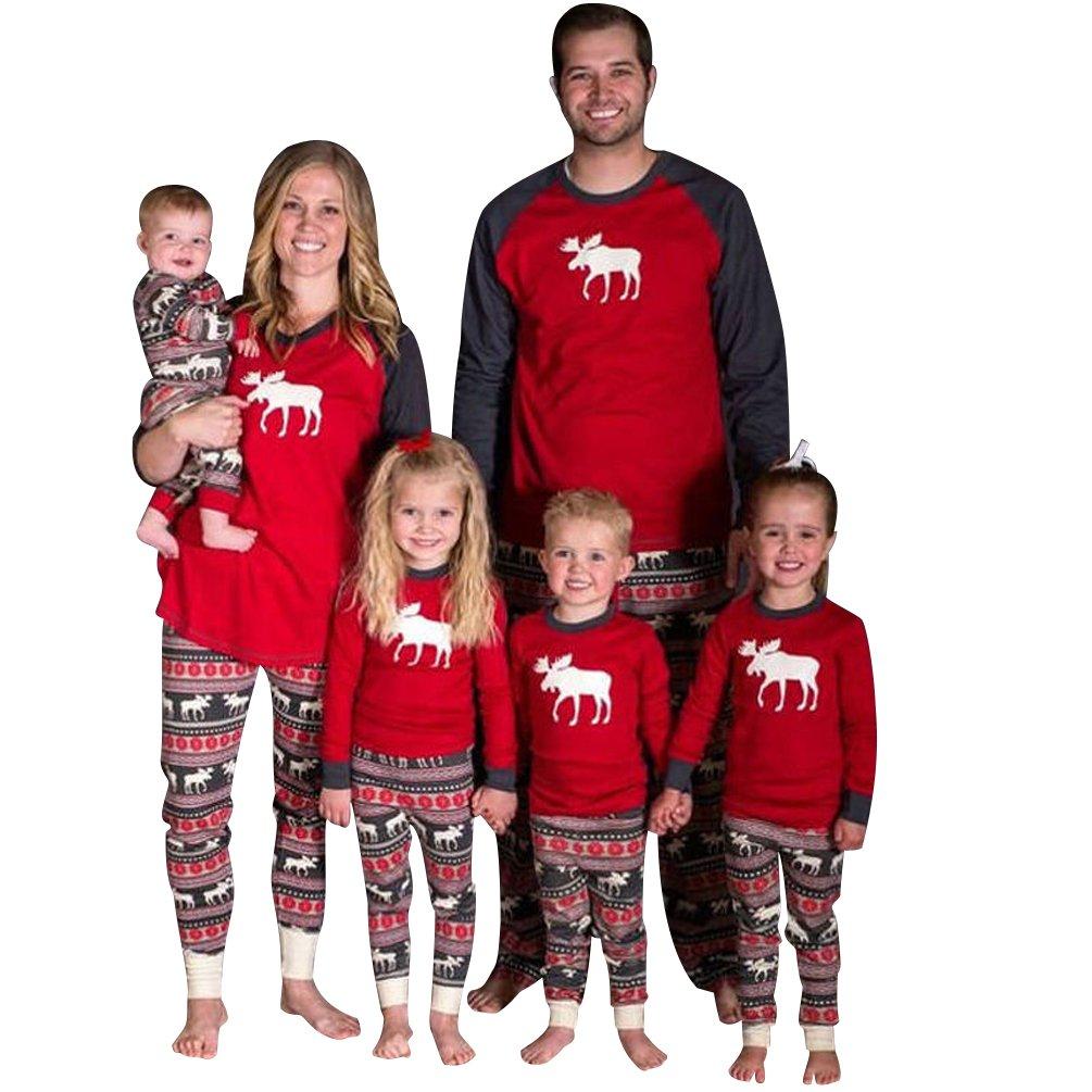 ISSHE Pijamas de Navidad Familia Pijamas Navideñas Adultos Pijama Familiares Manga Larga Hombre Mujer Niños Niña Chica Bebe Trajes Navideños Para Mujeres ...