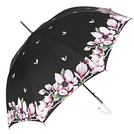 Paraguas Grande y Automático para Mujer - Paraguas Clásico con Dibujo Floral Sobre un Fondo Negro