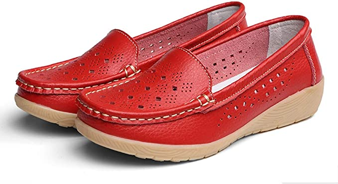 Dainzuy Womens Leather Casual Loafers Wedges Soft Bottom Outdoor Comfortable Slip On Peas Boat Shoes Driving Shoes