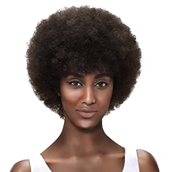 Style Icon Afro 5 quot  Short Curly Wigs with 100% Brazilian Hair (Fluffy  Tight c2dcf3551a4e