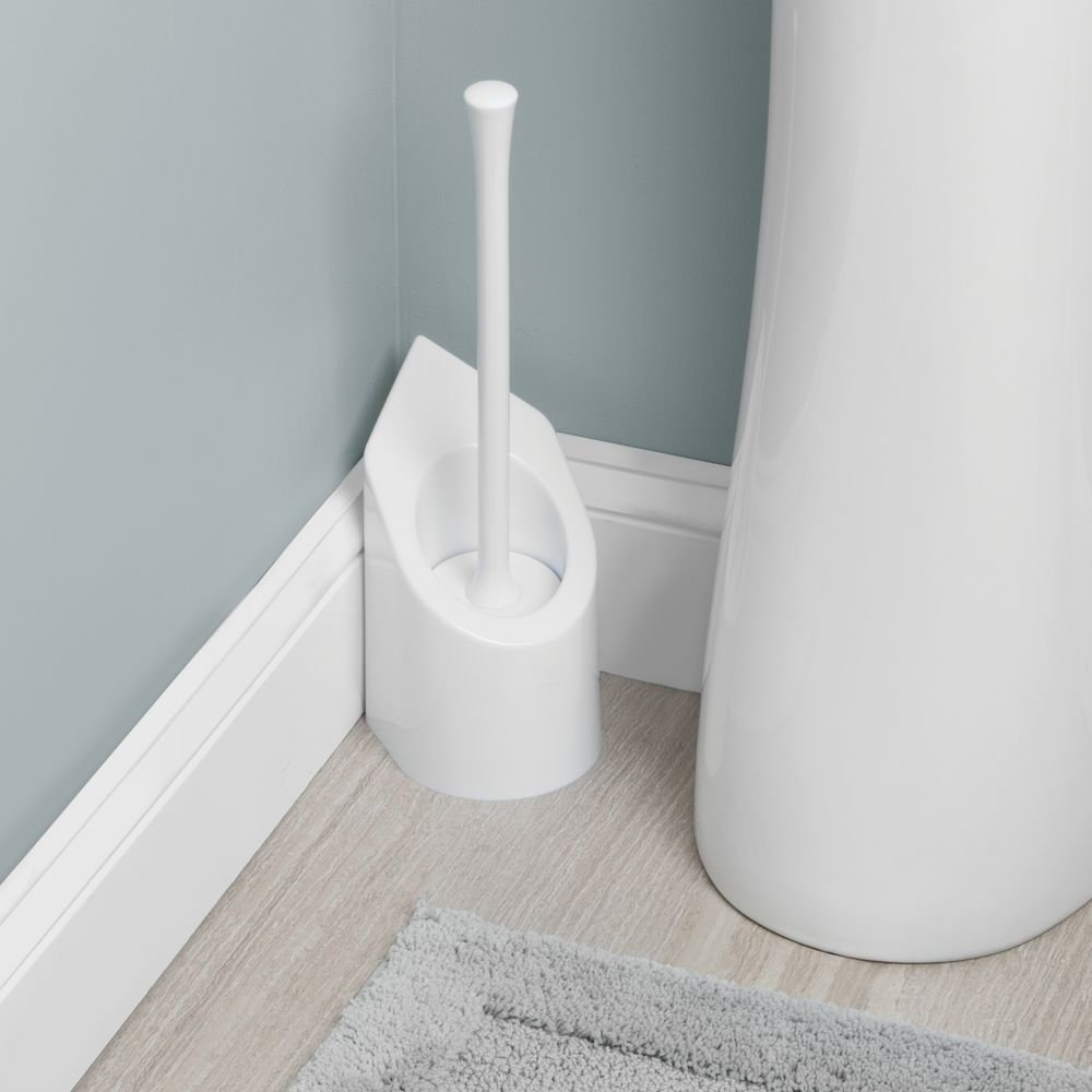 InterDesign Matrix Toilet Bowl Brush and Holder Bathroom Cleaning Storage White 92701