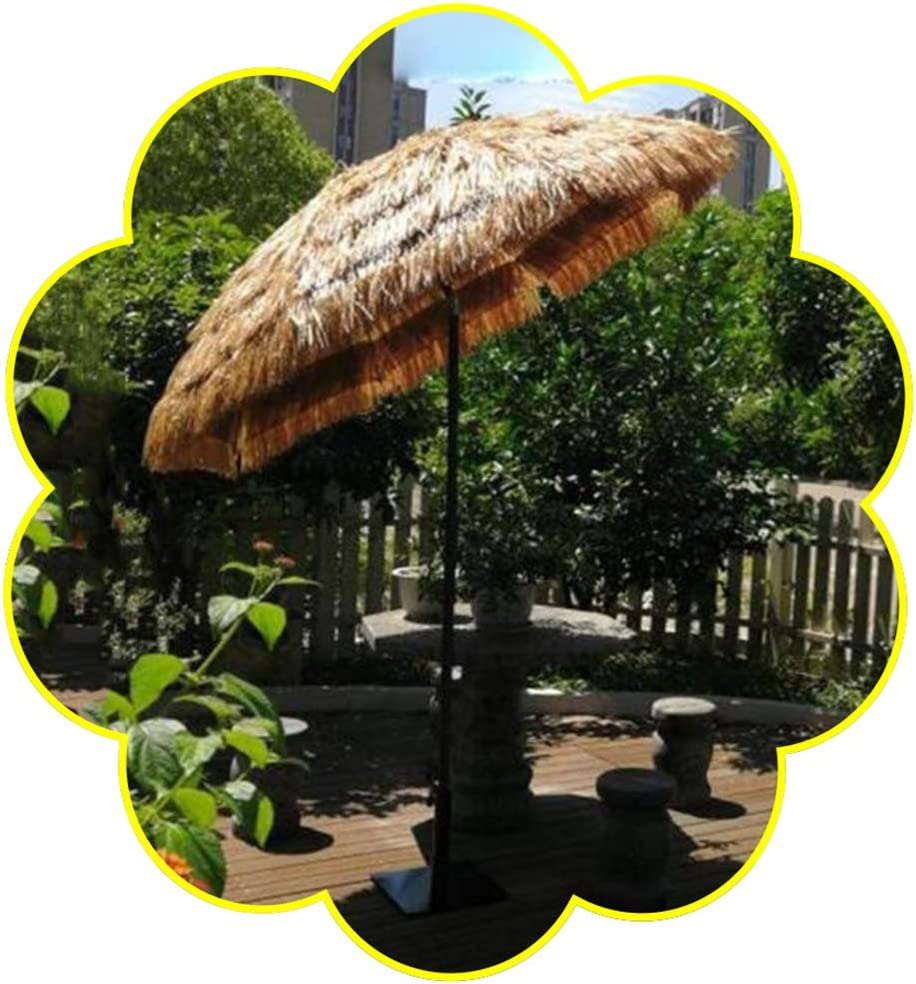 Hula Imitación Paja Sombrilla 6 pies Color Natural Estilo Hawaiano Piscina Patio Playa Jardín Paraguas Ajuste de inclinación Proteccion UV,con manivela de Tubo de Hierro de 32 mm CMXZ