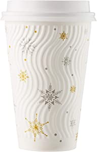 HARVEST PACK 16 oz White Snowflake Insulated Ripple Wall Paper Cup with Lid, Gold and Silver Print, Coffee Tea Hot Chocolate Drinks To go [100 SETS]