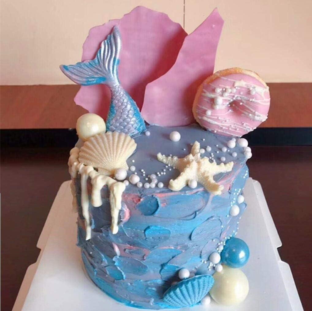 Chocolate Sugar Craft Cupcake Decor Candy Mermaid Tail Seahorse Seashell Starfish Seaweed Fish Silicone Mold for Cake Decoration SAKOLLA Mermaid Theme Fondant Mold Polymer Clay