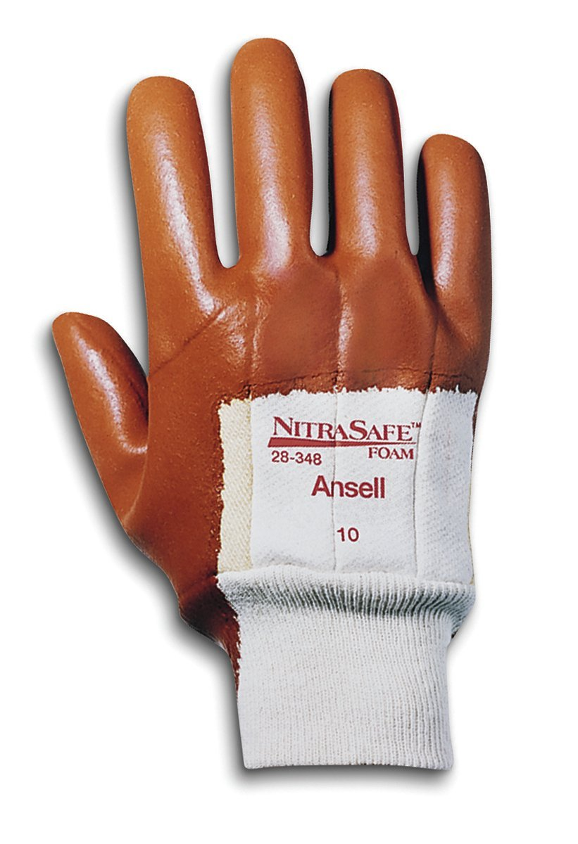 Ansell Nitrasafe 28-348 Foam Nitrile Glove Large Pack of 12 Pairs Cut Resistant Palm Coated on Kevlar and Jersey Liner