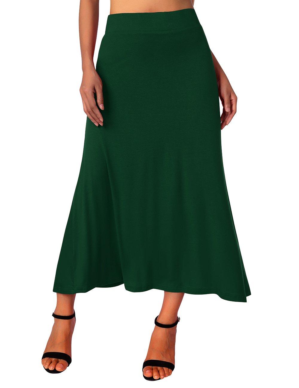 Women's High Waist Jersey Skirt,Summer Casual Stretchy A-Line Draped Long Full Maxi Skirt Dresses Green XL