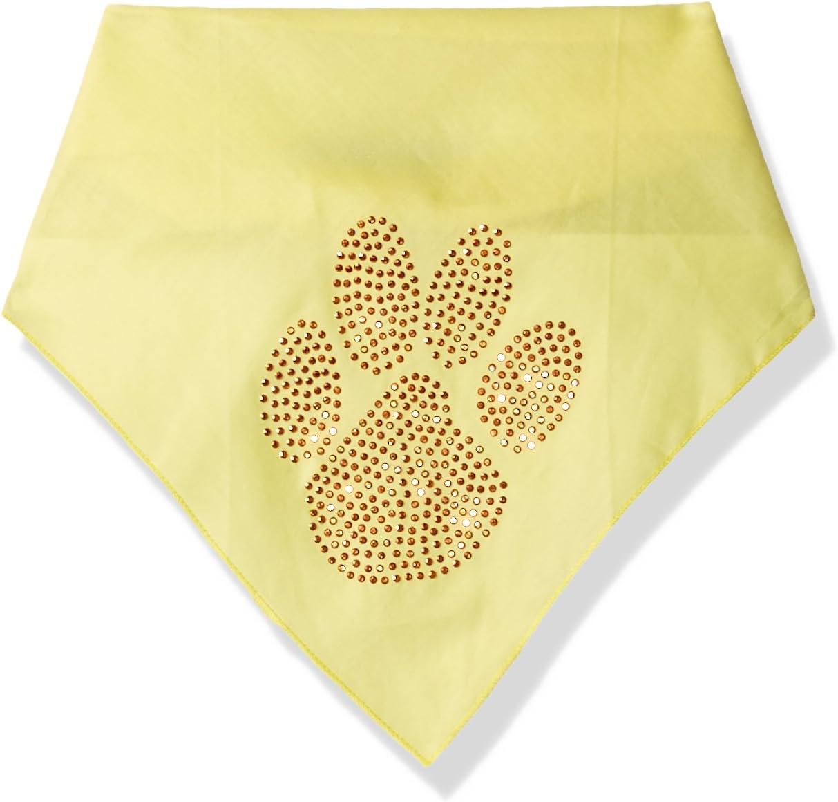 Yellow Mirage Pet Products Paw Orange Rhinestone Bandana Large
