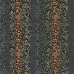 Chesapeake TOT47112 Luther Orange Skull Modern Damask Wallpaper