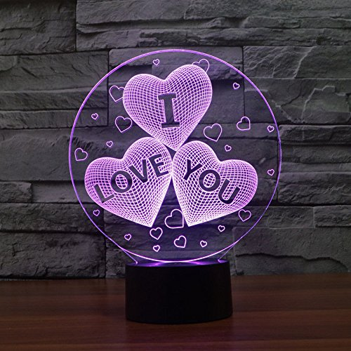3D I Love U Usb Table Desk Lamp Touch Switch Color Changing Acrylic Night Light