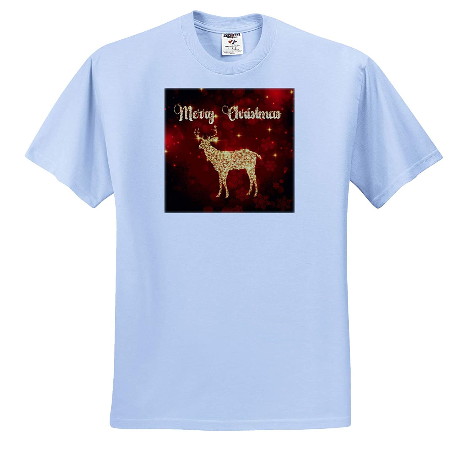 3dRose Sven Herkenrath Christmas Merry Christmas with Red Background and Gold Deer T-Shirts