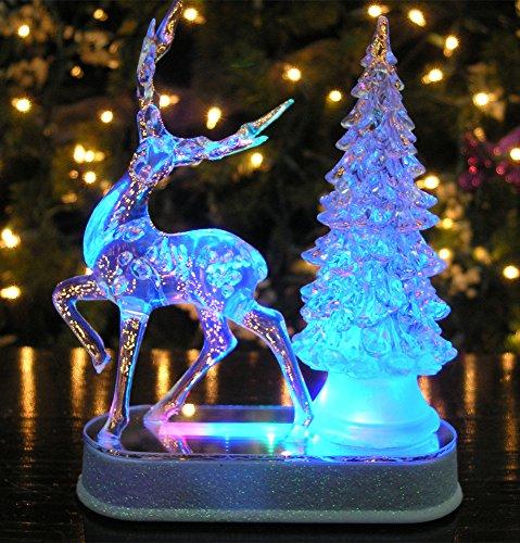 Table Top Lighted Christmas Tree: Reindeer And Christmas Tree Color Changing Acrylic Table