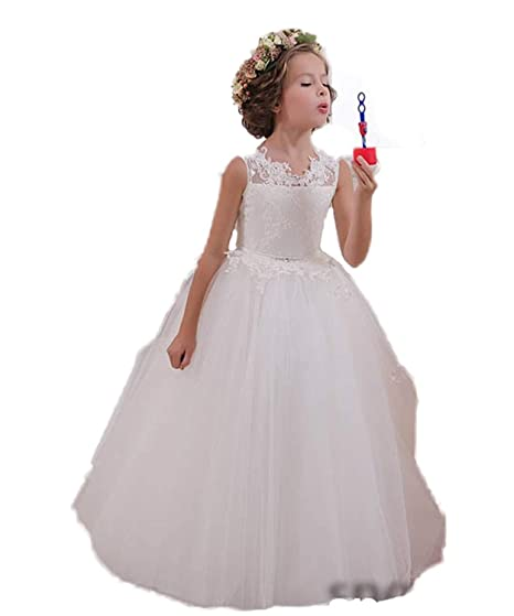1e363c408c133 CoCoGirls Holy Kids Keyhole Back Flower Girl Dresses First Communion Gown:  Amazon.co.uk: Clothing