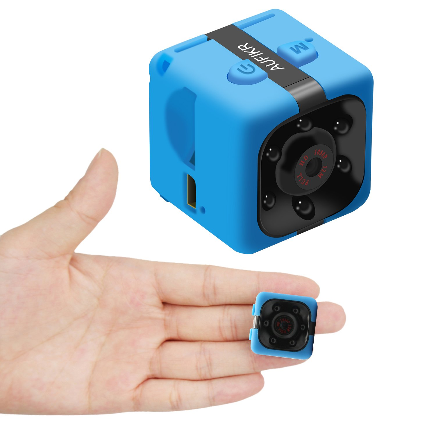 Aufikr Mini Camera Sports HD DV Camera 1080P Portable Tiny Video Sound Camera with IR Night Vision & Motion Detection, Small Nanny Camera - Blue by Aufikr