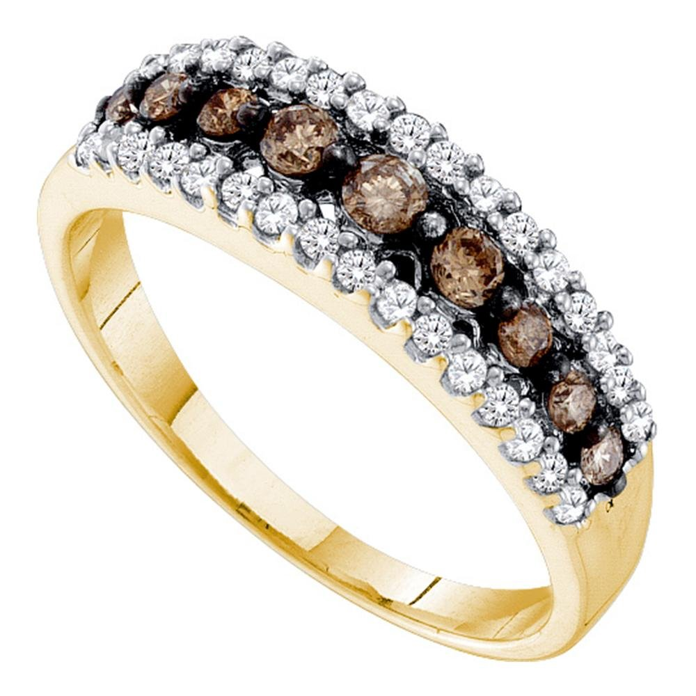 Brown Diamond Wedding Band Solid 14k Yellow Gold Fashion Chocolate Ring Three Row Pave Set Style 1/2 ctw