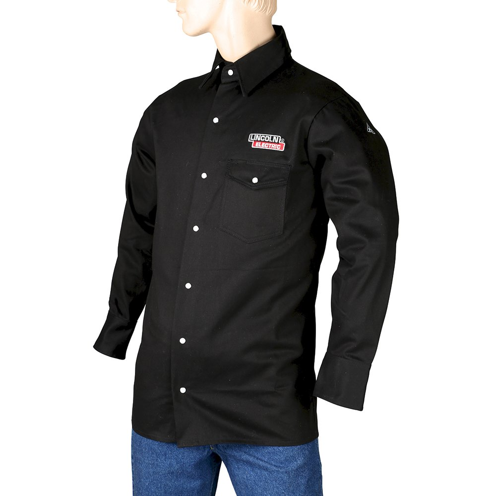 Lincoln Electric Black Medium Flame-Resistant Cloth Welding Shirt
