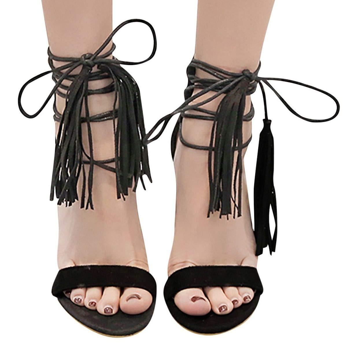Heeled Sandals, Womens Fringe Strap Open Toe High Heel Sandals Slender Stiletto Heel and Wrap-Around Self-Tied Straps (Black, 6.5)