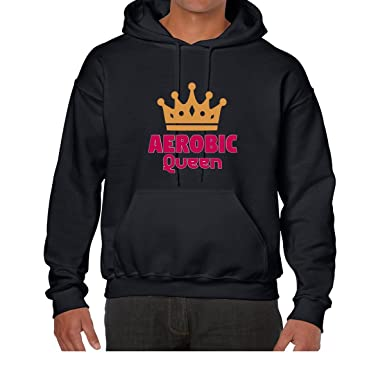 AW Fashions Aerobics Queen - Funny Aerobics Unisex Hooded Sweatshirt (Small, Black)