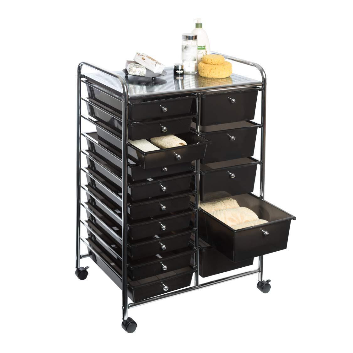 Seville Classics 15-Drawer Organizer Cart w/Wheels, Black (Black, 1 Pack)