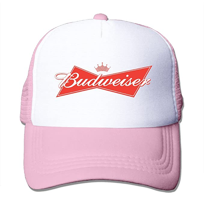 0c69cecb51261 Adult Budweiser Logo Adjustable Mesh Hat Trucker Baseball Cap Pink