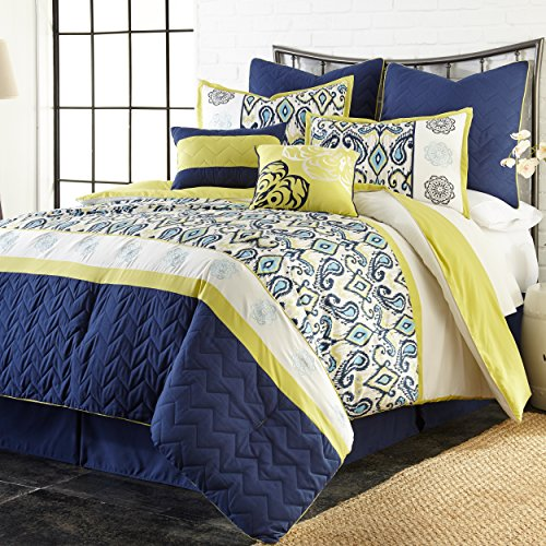 8 Piece Embroidered Paisley Themed Comforter Set Queen Size, Reversible Elegant European Style Contemporary Regal Persian Indian Boudoir Design Bedding, Classy Luxury Vibrant Bedroom, Blue, Yellow