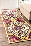nuLOOM Traditional Medallion Wool and Viscose Tufted Runner Area Rugs, 2' 6'' x 8', Red