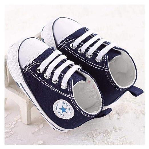 FidgetKute Zapatos Comodos Zapatitos de Bebe Baby Niña Niño Zapatillas de Recien Nacido Azul 0-