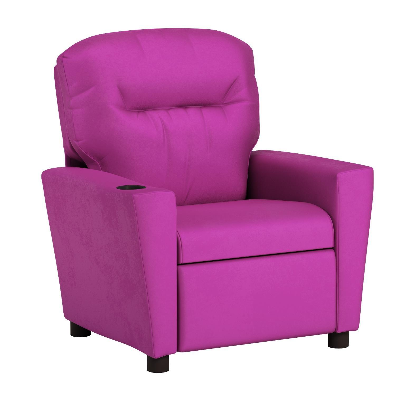 Kidzworld Home Indoor Children Pink Suede Kid's Recliner