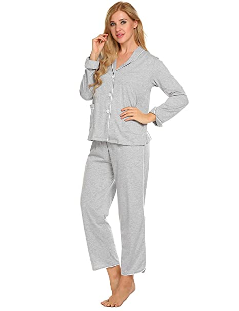 Conjunto De Pijama Mujer Primavera Otoño Albornoz Tops Pantalon 2 Basic Pedazos Elegantes Moda Classic Simplemente